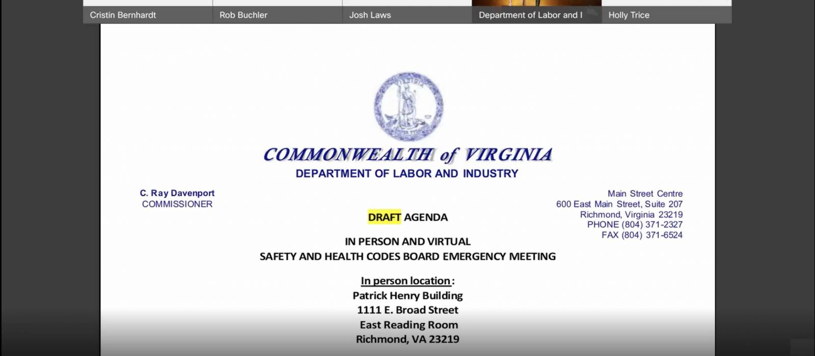 Virginia Health and Safety Codes Board Adopt Changes